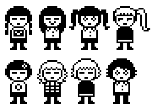 ankokon:  more tiny pixels! imagine if they were little tamagotchi thingies that'd be adorable the ones on the bottom are supposed to be Chie from LCDDem, Urotsuki form Yume 2kki and Sabitsuki and Smile from .flow :0!!! here they are on their original size: