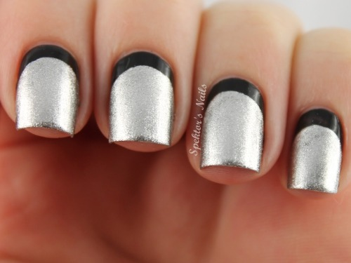 Black & Silver Ruffian Nails