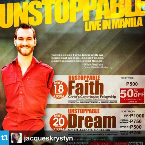 #Repost from @jacqueskrystyn with @repostapp #nickVujicic  see yah tomorrow @ccf center