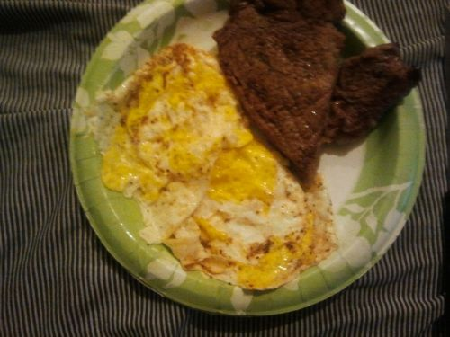 Steak and eggs.  I made it myself for dinner.