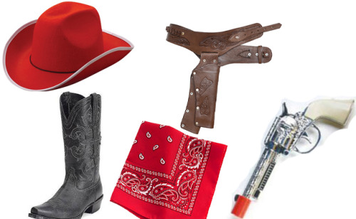 ugly-goat:  Steal his look: Cowboy Pig Felt Cowboy Hat (red): $5.39 Chocolate Brown Leather Cowboy Holster: $35.99 Fearless Vintage Black Full Grain Leather Western Boots: $224.95 Red Bandana: $4.00 Wild Ranger Gun Set: $3.99