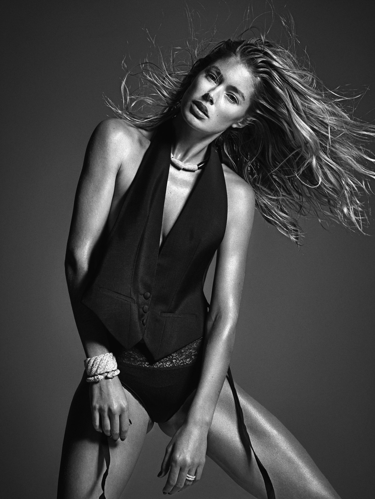 Doutzen Kroes poses in Margiela.  Photograph by Mario Sorrenti; styled by Edward Enninful; W magazine March 2014.