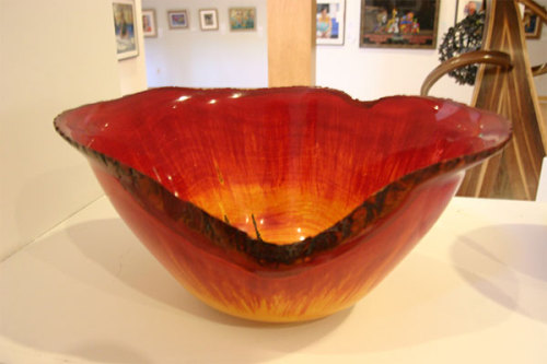 "Artwork of the Day:""Kalahari Sunset,"" Maple bowl. Artist: John Franklin. This work is part of the Kaatskill Woodturners Association juried exhibition, on dispay at View in Old Forge through June 29."