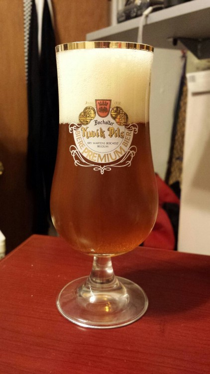 Forgotten BEERWHALES Post  A gold rimmed Kwik Pils glass from Belgium.  Probably about an 8oz. elongated tulip.  Also first post from new camera phone.  Galaxy S4 should be able to take sufficient pictures.  We will see and I hope no drop in quality follows.  GLASSWHALES!