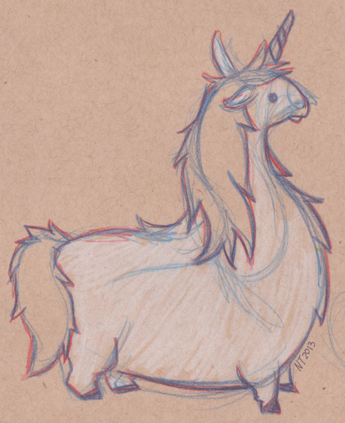 monstersandbigteeth:  Little fat unicorn I drew in one of my sketchbooks.