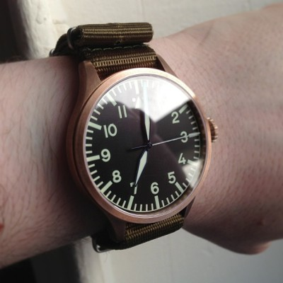 Bronze case, green nylon NATO. Great combination. #womw