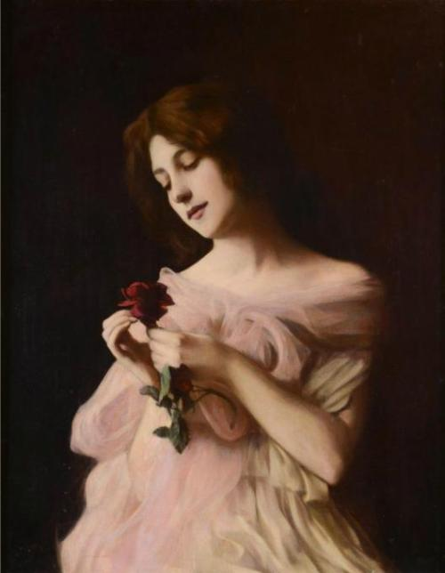 poboh:  Girl with rose, Vlaho Bukovac. Czech (1855 - 1922)
