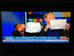 kidpres:  Thank you CNN and Soledad O'Brien for the chance to tell our story this morning! The Pep Talk video was dedicated to 2 year old Gabbi who is fighting cancer (like a boss). Her dad took this screen shot this morning as they watched.