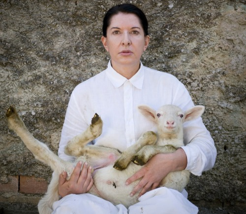 posts-from-the-underground:  Marina Abramovic, Portrait with white Lamb (2010)