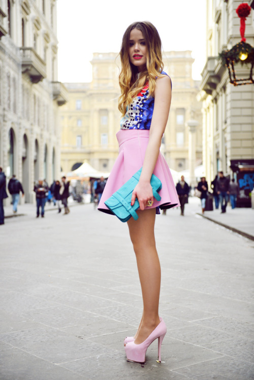 pretaportre:  Kristina Bazan, style blogger of Kayture, in 'Candy Coloured' wearing a Peter Pilotto dress worn as a shirt, Fausto Puglisi skirt, Guiseppe Zanotti shoes and a Proenza Schouler clutch.