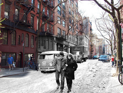 "siltron:  WOW. ""A Don Hunstein photo from the ""Freewheelin' Bob Dylan"" album photo shoot on Jones St. Greenwich Village, Feb. 1963 blended into a photo I took on Jones St. on a very warm spring day, April 2009"". Credit to Ted Ford"