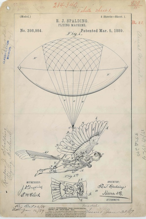 cartolleria: explore-blog:Beautiful patent drawing for R. J. Spalding's Flying Machine, 1889. Complement with the illustrated history of human flight.