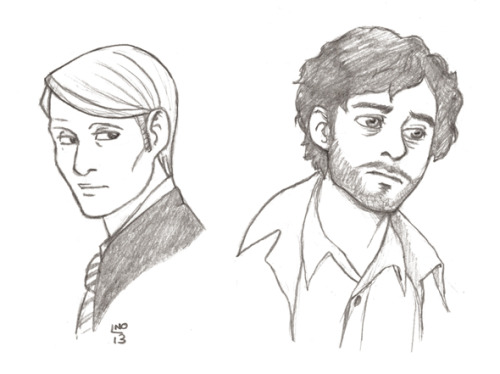 A couple of sketches of Will and the not so good Doctor while watching Hannibal.  Lecter has the most perfect television coif since Jack Lord's days on the original Hawaii 5-0.