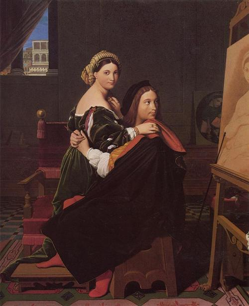 Raphael and the Fornarina, Artist: Ingres, oil painting