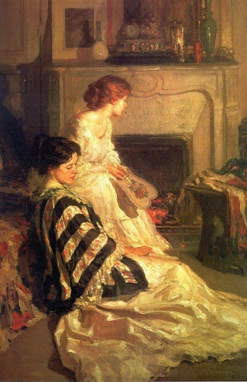 books0977:  By the Fireside. Carl Herpfer (German, 1836-1897). Herpfer is considered a genre and portrait painter from the German school. Herpfer received his formal education at the Beaux Arts Academy in Munich under Professor A. von Ramberg. Although Herpfer traveled to France to study, he never exhibited in the Paris Salons. He exhibited exclusively in Munich from 1868 to 1888.