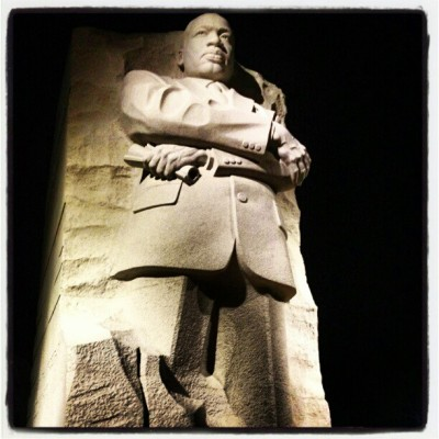 MLK Memorial on a cold winter's night. Looking forward to going back in the daytime when the weather is warmer. I need to be a tourist in this place I call home more often. (at Martin Luther King, Jr. Memorial)