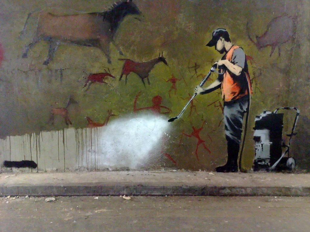i-love-ziggy-stardust:  f-l-e-u-r-d-e-l-y-s:   Banksy, the street artist  Banksy is a England-based graffiti artist, political activist, film director, and painter. His satirical form of street art and subversive epigrams combine irreverent dark humor with graffiti done in a distinctive stenciling technique. His form of art is something I really like.