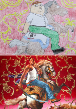 Living Artist Research Project - Student Parody (8th Grade) Kehinde Wiley, Officer of the Hussars I love the Brian-skin rug on the parody - such great details.