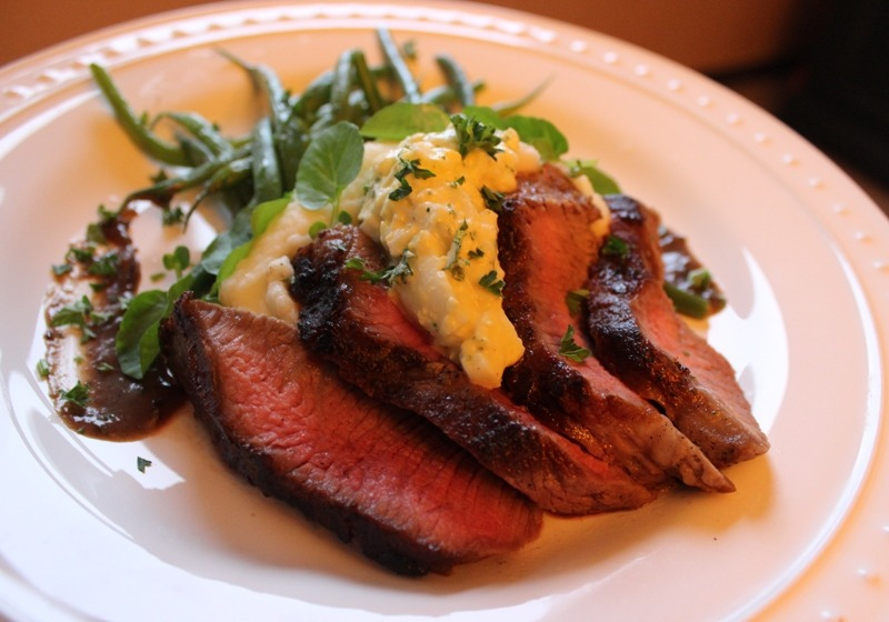 Tri-Tip with horseradish-egg cream, mashies, watercress and haricot vert.
