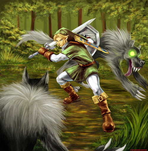 thecyberwolf:  Link Vs Wolfs  by Zalogero