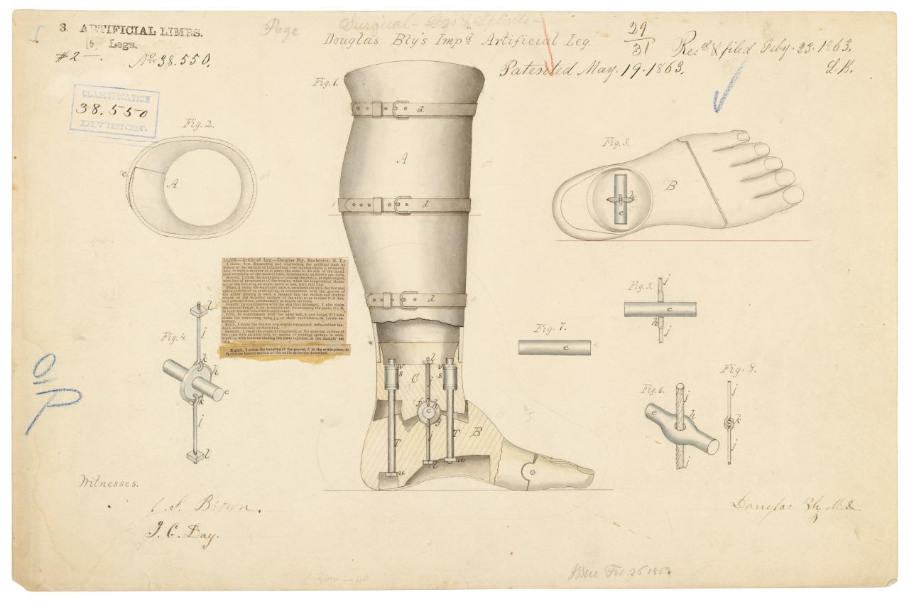 Douglas Bly's Improved Artificial Leg, Patented 05/19/1863