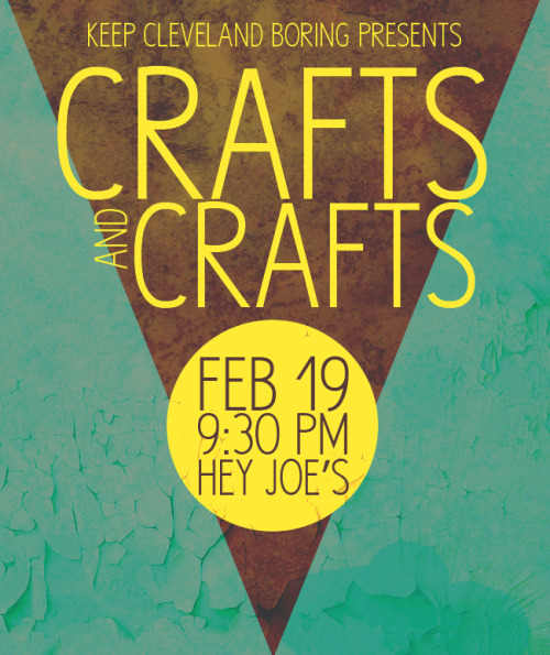 Crafts & Crafts is a new Keep Cleveland Boring Presents program that brings two things we love—art and beer!—together for a night of fun. We will feature creative workshops from local artists, paired with featured craft beers at Hey Joe's. There is no cover charge for this event. For our first Crafts & Crafts night, DSU's own Duncan Baird will be leading a reaction style drawing workshop based on alternative drawing methods utilizing basic, everyday household supplies (such as ball point pens, crayola markers, coffee, etc.) and a positive, experimental approach that will encourage everyone—classically trained or not—to embrace drawing and creating in a collaborative environment. This month's Crafts & Crafts features three craft beers! We have Goose Island 312 Urban Wheat Ale and Third Shift Amber Lager in bottles, and Magic Hat #9 on draft.   RSVP on Facebook HERE.
