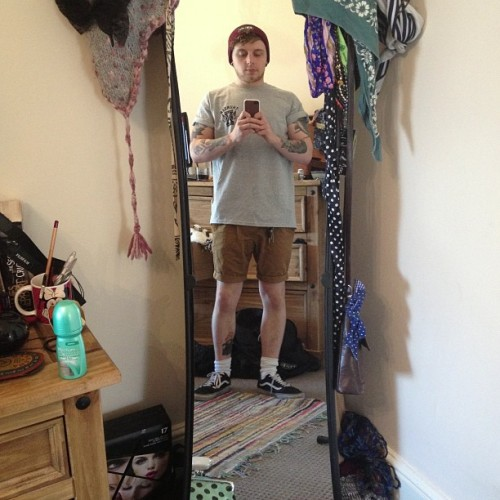 aminorthreat1:  Girly mirror/shorts weather! #summer #tattoos #vans #oldschoolvans #thunderapparel #traditionaltattoos
