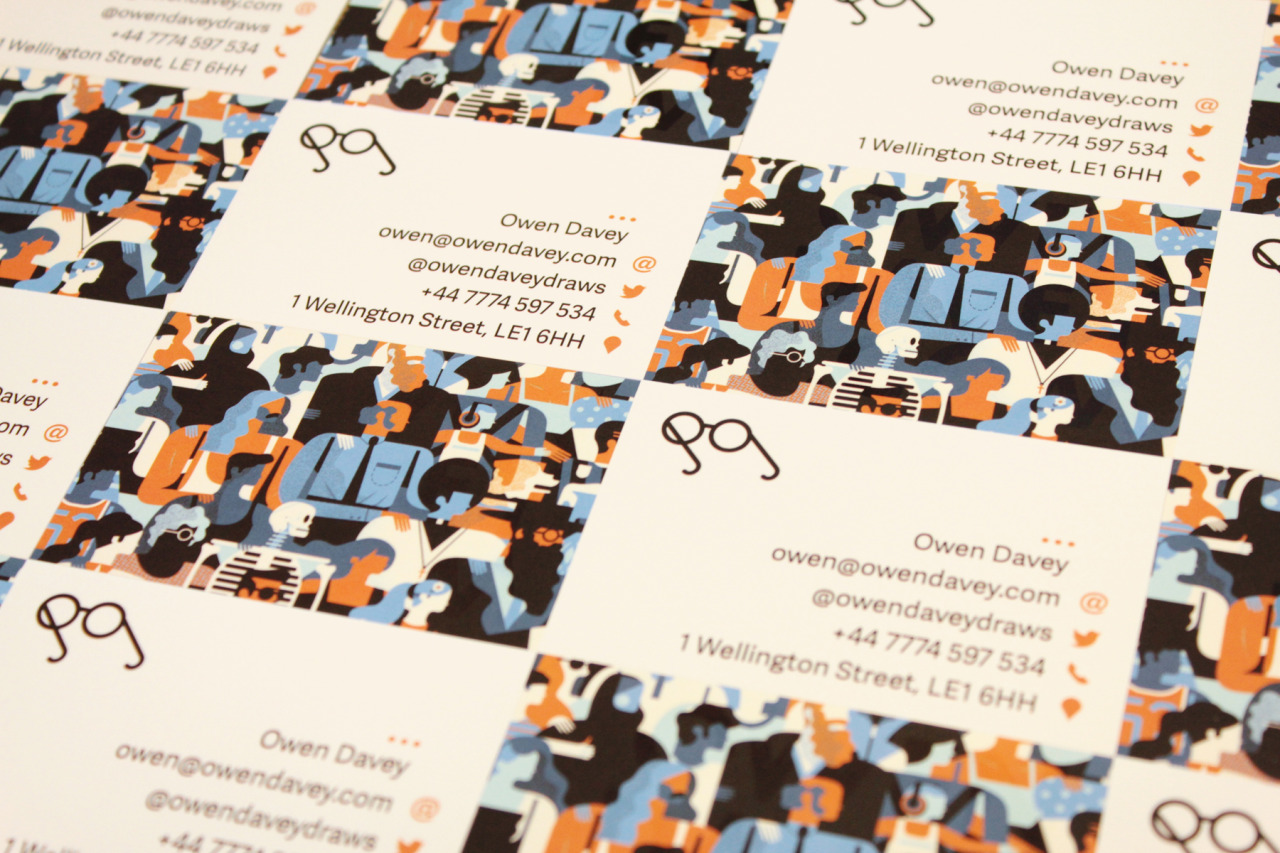 Owen Davey Draws • New Business Cards with a cheeky bit of Spot UV,...