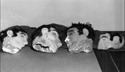 splattergut:  The dummy heads used by Clarence Anglin, John Anglin and Frank Morris, from left to right. The last head on the right was found under the bed of a fourth conspirator who couldn't get out of his cell the night of the prison break. Alcatraz,1962.