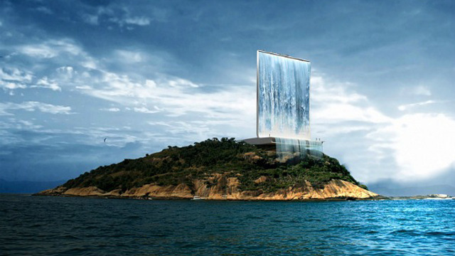 Solar City Tower, to be built with the 2016 Olympics in Rio de Janeiro. This vertical structure will be built in Cotonduba Island, in front of Rio, in conjunction with the Olympics 2016, that is taking place in Brazil. The building is both an observation Tower and a welcome sign for the visitors arriving by air and by Sea at Rio de Janeiro. Designed by Zurique firm, RAAFA, Solar City Tower  features an artificial waterfall designed to generate clean, renewable energy: during the day the solar panels capture the energy needed to pump the sea water at the top, that is then conveyed through the turbines and produce the power to feed the system at night.