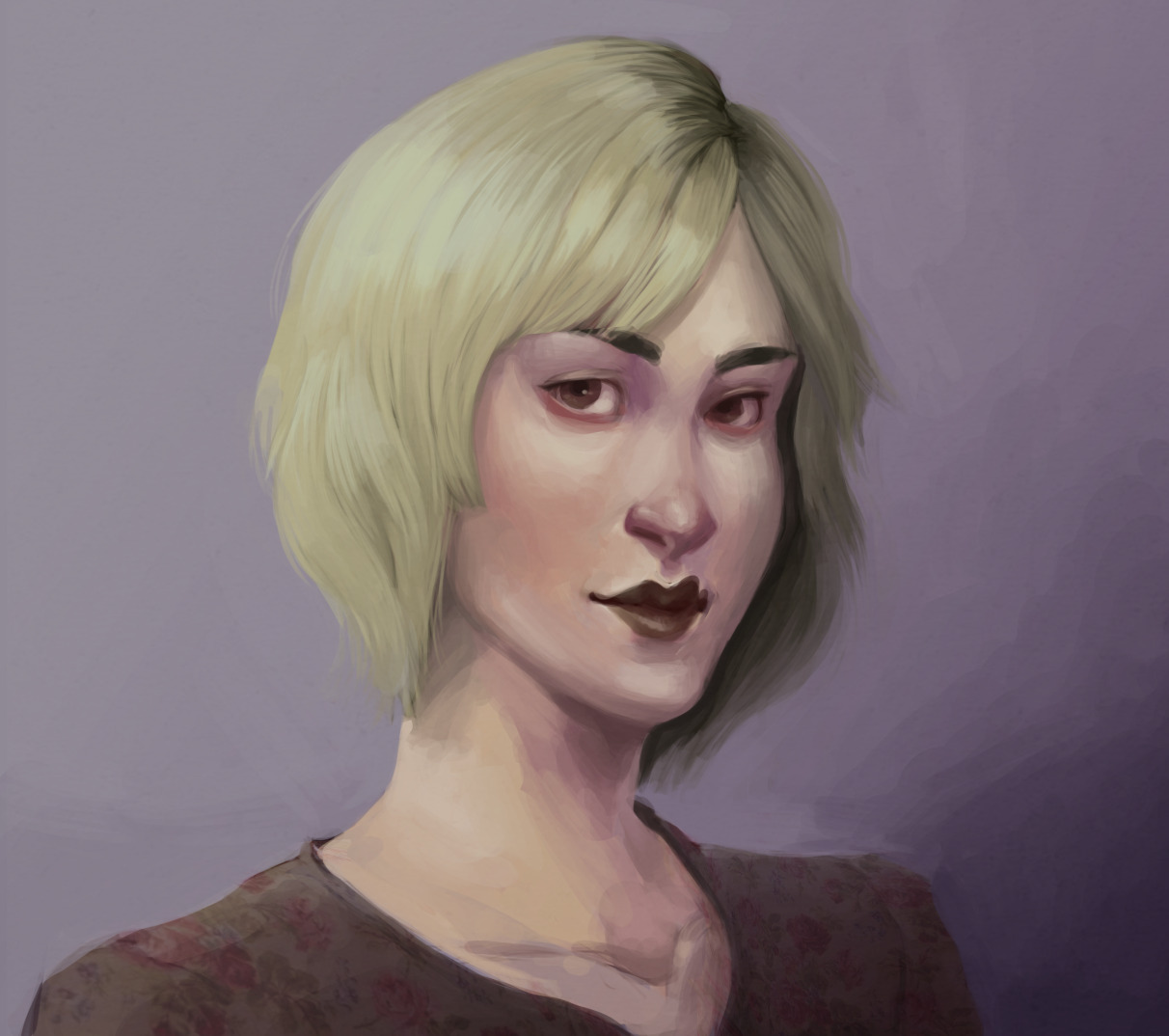 Paint over of an old portrait practice for, well, practice.  Brushing up on painting, checking out where I am with it and where I want to go. The old version from a year ago can be foundhere.