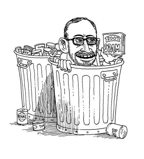 luckypeach:  Hey all - we let Slate borrow Harold McGee's story on old cans from the Apocalypse Issue. Go read it! It's awesome and will totally make you less queasy about how old all the food in your grandma's pantry is. Drawing of Harold diving for cans by the incomparable Tony Millionaire.  Oh my god, as a canning geek this is fascinating to me! Yesterday I mentioned I was thinking about my ability to eat MSG in the apocalypse; that was because of this issue of Lucky Peach.