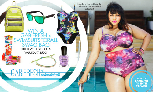 gabifresh:  thegiantbeauty:     gabifresh:     Win any GabiFresh x swimsuitsforall bathing suit (along with a bunch of other awesome shit) in the giveaway on my blog, gabifresh.com ! It's short lived so check it out soon. Reblogging this counts as an extra entry but you must keep this caption and leave a comment on the original post!     My swimsuit situation is so bad. Also, I have never been more excited about the launch of something until recently. These bathing suits and Plump Polish. Doing it for me!     last day to enter the giveaway! you MUST comment on my blog post on gabifresh.com, not here on tumblr. the line launches tomorrow!!!! YAYAYAYAAY (i will be posting more deets tomorrow, but in case you don't see them: i would suggest sizing down in the neon bikinis, especially if you have a small bust. i wore a size 14 on bottom. the galaxy and jewel print suits are true to size, i wore a size 18. also please note these are not control top suits and are soft cup bras, not underwire/molded cup!)  this would be so amazing!