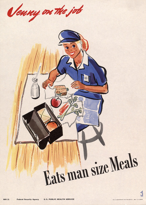 vintagraphblog:  Jenny on break eats a big meal. New in our WWII Poster. (via Jenny on the Job Eats Man Size Meals | Vintagraph)