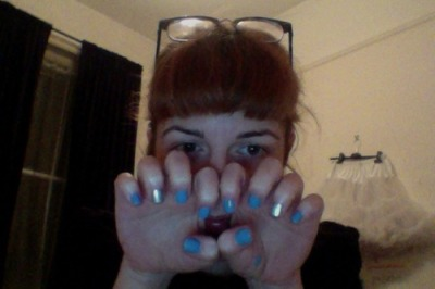I finally decided to flag my nails in colours that were actually relevant (rather than paint them *then* guess) so I went for silver - femmes for femmes, and light blue - cos who doesn't want to get eaten out??
