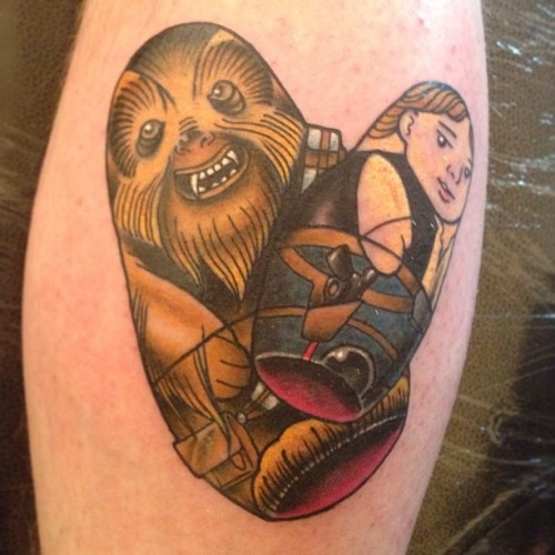 Laugh it up fuzz ball!! #liverpool #tattoo #convention #starwars #star #wars #han #chewie #rebel #scum #russian #doll #matryoshka #babushka #banter  (at Liverpool Tattoo Convention)