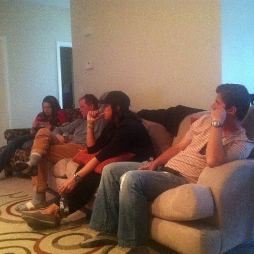 Super Bowl partaay! Attentively watching the #49ers first interception! Lol. @sobeforlife @lasobrero