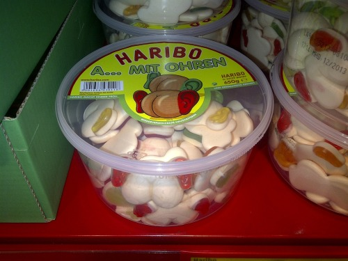 Haribo knows what the kids really want. Gummi butts with ears.