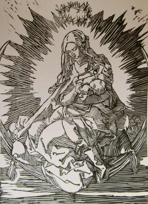 Albrecht Dürer master copy print, Madonna On The Crescent
