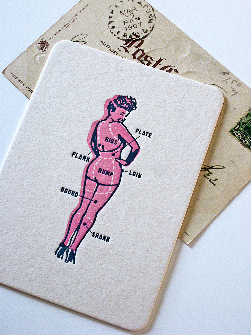 Pinup Art Letterpress Postcard