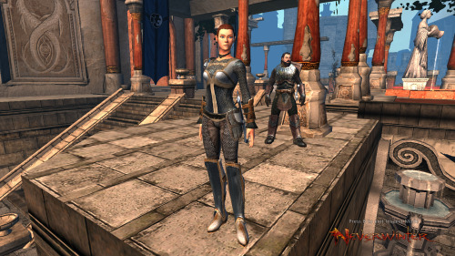 Just been running around in Neverwinter on Dragon. I like Stormi's armor right now.  Her companion Socrates is behind her,