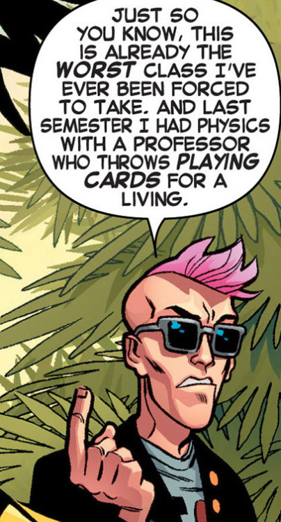 patloika:  Quentin Quire laments his education. By Jason Aaron, Ramon Perez and Laura Martin.