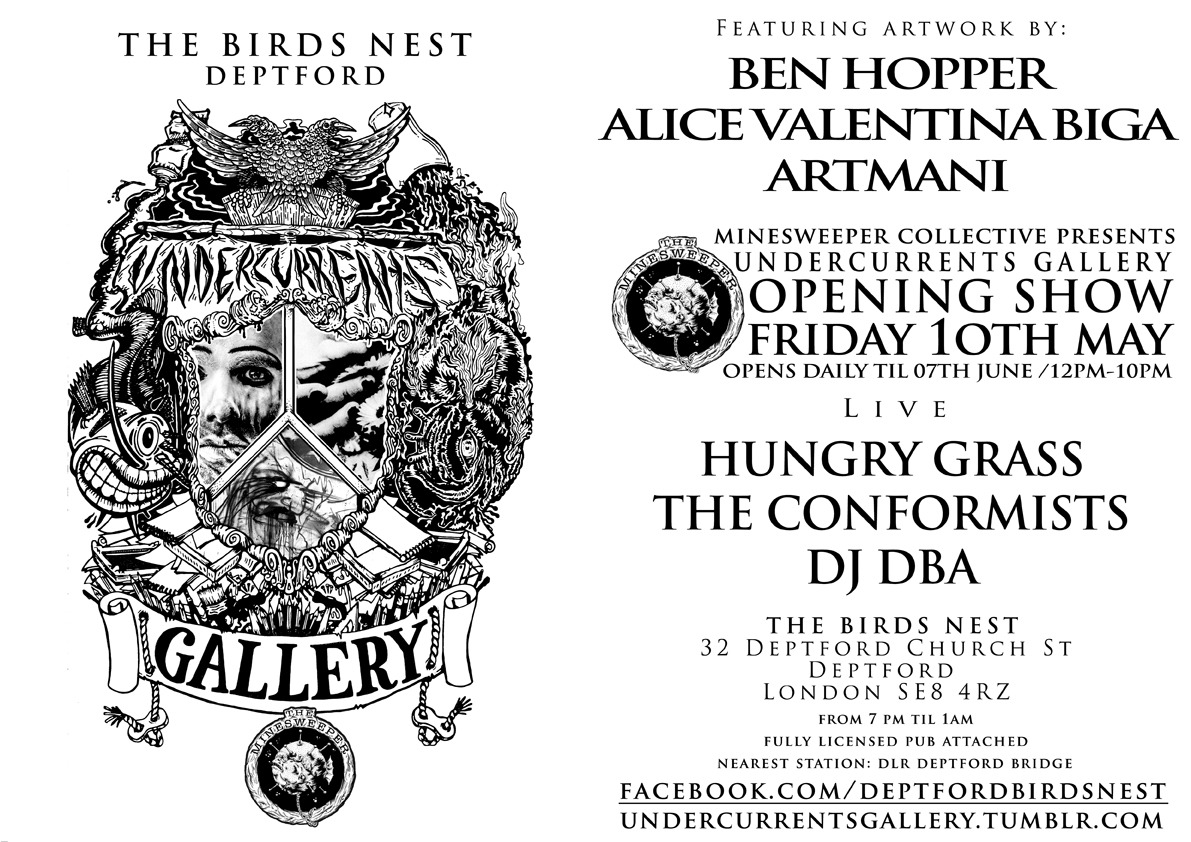 I'm a part of a group exhibition in the new UNDERCURRENTS GALLERY. I will have one of my recent collaborations with Harry Yeff (Reeps one) and 2 new collaborations with illustrator Joe Fur. The exhibition is until the Thursday 06th JUNE 2013. Address: The Birds Nest, 32 Deptford Church St, Deptford, SE8 4RZ.