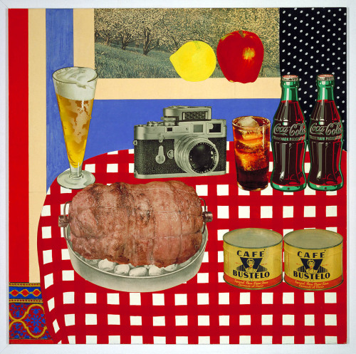 "cavetocanvas:  Tom Wesselmann, Still Life #12, 1962 From the Smithsonian American Art Museum:  In Still Life #12, Wesselmann attached commercial images of frosty beverages and freshly cooked food to a painted facsimile of a red-checked tablecloth. A window in the background turns out to be a photograph of an orchard, with two cutout areas colored to resemble photographs of a lemon and an apple. For these painted elements, the artist heated up the already intense colors of advertisements to create what he called an ""aggressive"" picture. Two bottles of Coca Cola, painted on stamped metal, push outward from the surface, complicating our sense of what is real and what is invented. Wesselmann's luscious images of food and drink point to another kind of desire. The apple and the breast-shaped lemon perch on the threshold of the Garden of Eden, while, below, a glistening, trussed ham and two strategically placed cans of ""Bustelo"" coffee stand in for one of the Great American Nudes that made Wesselmann the bad boy of American art. Wesselmann enjoyed the publicity that the pop artist label brought him, but he insisted that his collages expressed something more important than consumer culture. Still Life #12 recasts old traditions of the nude, the still life, and landscape painting in the hip language of modern American life."