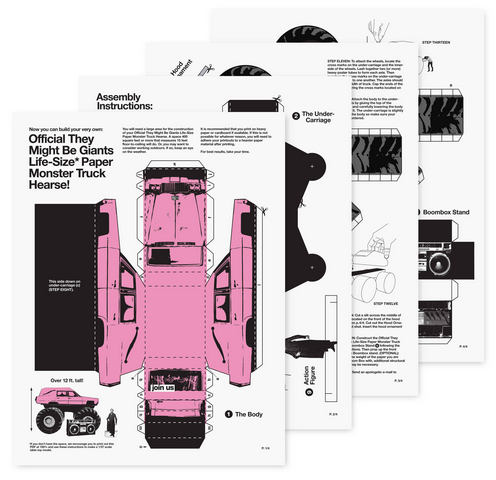 tmbgareok:  From The Office of Paul Sahre: FOR FUN Make your own dayglo pink paper monster truck hearse with this free pdf download instructions at http://www.theymightbegiants.com/paper-monster-hearse/