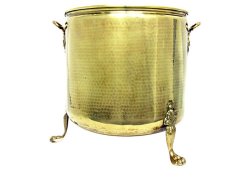 Large brass wood pail or planter with hammered decoration and applied cast brass handles and lion paw feet. Made in Holland tag still inside. Sold by Ruby + George on One Kings Lane Vintage and Market Finds!