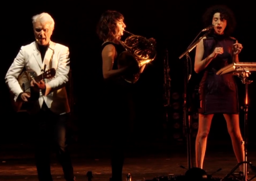 (via Watch David Byrne and St. Vincent play Strathmore Mansion) We've seen NPR's behind the scenes look at David Byrne and St. Vincent's Love This Gianttour, and now they have shared a 37 minute performance from Strathmore Mansion in Maryland. The show includes the Talking Head's Burning Down The House as well as St. Vincent's solo song Marrow. WATCH HERE