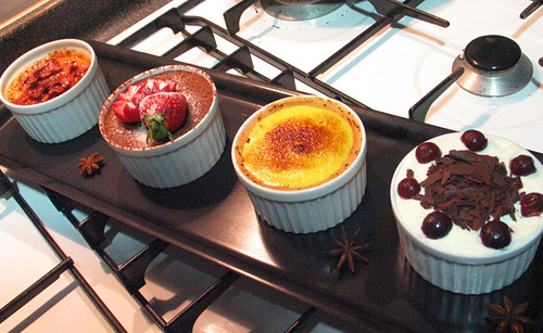 in honor of the delicious desserts i tried on my mom's birthday - creme brulee, pineapple sorbet, & something w/ passion fruit - yuuuuuum.