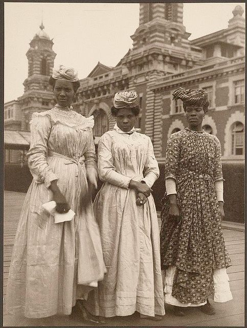 beyondvictoriana:  From African Heritage City:Three women from Guadeloupe, on Ellis Island, about 1910, by Augustus Sherman — with Lily Diane Robinson-Mann and Rose Cannon. (Source)