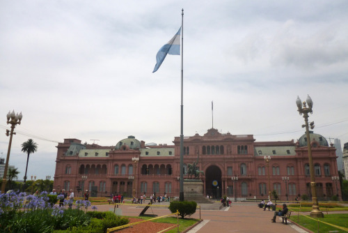 Casa Rosada, or The Pink House, Buenos Aires. We'd reached the end, final destination. Six days left.